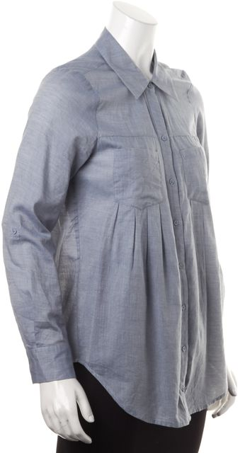 JOIE Heather Blue Long Sleeves Pleated Button Down Shirt