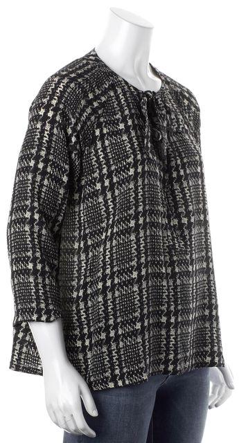 JOIE Black Beige Abstract Print Tie-Up Collar Button Down Shirt