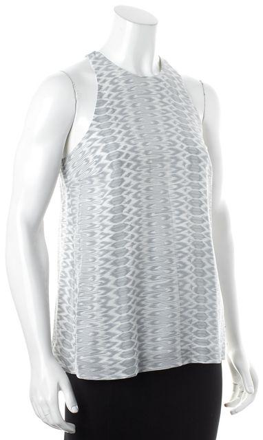 JOIE Gray White Geometric Abstract Print Sleeveless Crepe Silk Blouse