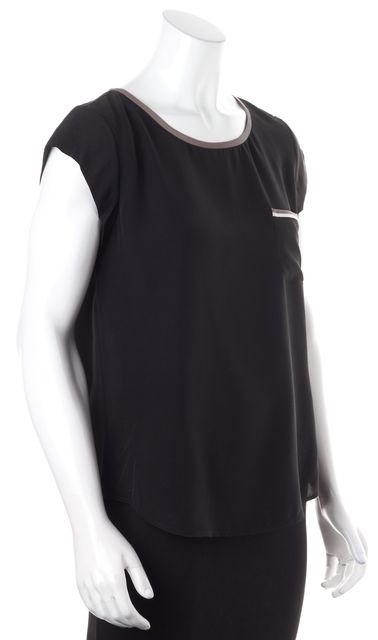 JOIE Solid Black Brown Lined Crepe Silk Short Sleeve Blouse