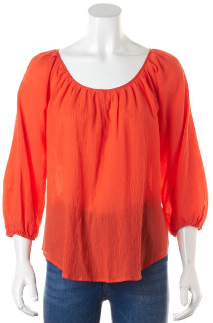 JOIE Mayan Red Textured Cotton Sharpelle Peasant Blouse Top