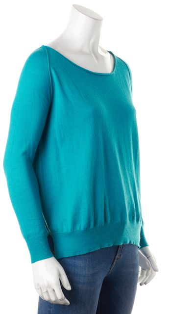 JOIE Turquoise Blue Long Sleeves Lightweight Knit Boat Neck Sweater