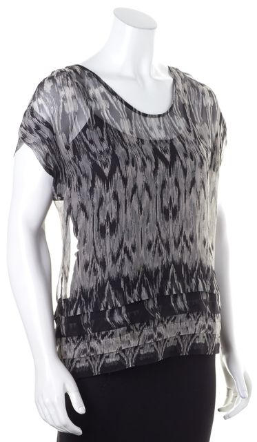 JOIE Gray Green Black Sheer Abstract Print Blouse Top