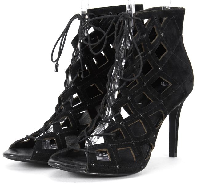 JOIE Black Laser Cut Suede Lace Up Caged Heels