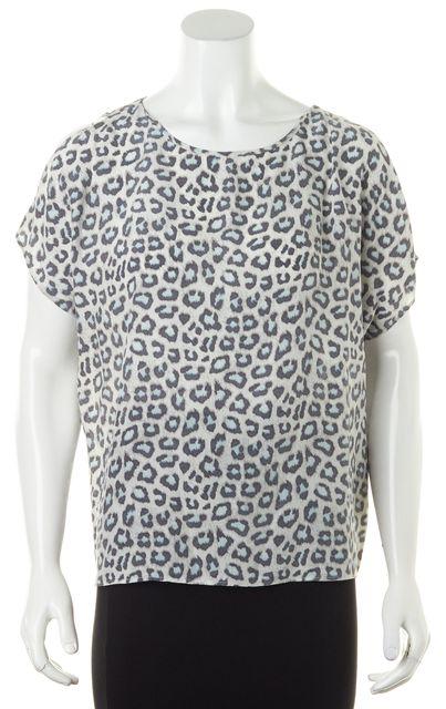 JOIE Gray Leopard Print Cold Shoulder Crepe Silk Blouse