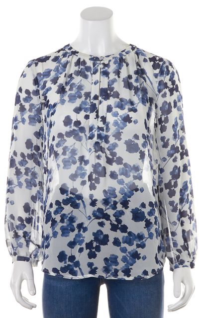 JOIE White Floral Silk Blouse Top