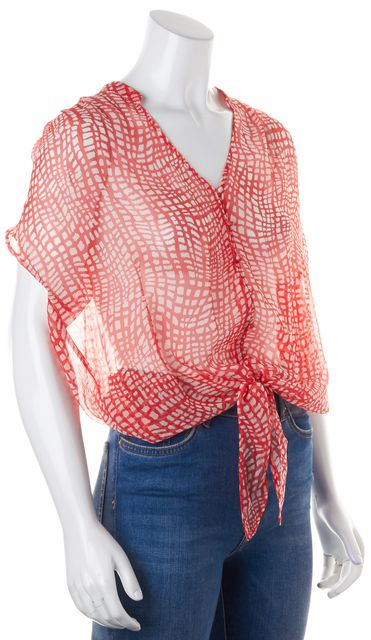 JOIE Red White Abstract Semi Sheer Silk Blouse
