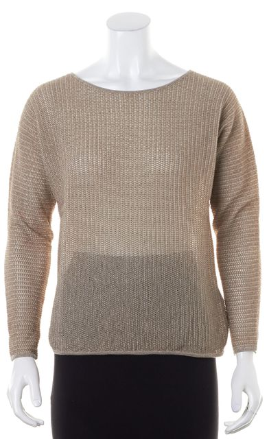 JOIE Beige Silver Shimmer Crewneck Sweater