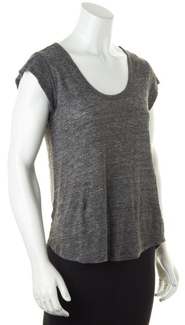 JOIE Dark Gray Semi Sheer Linen Scoop Neck Short Sleeve Top