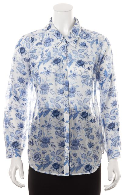JOIE Blue White Floral Printed Sheer Cotton Silk Button Down Shirt Top