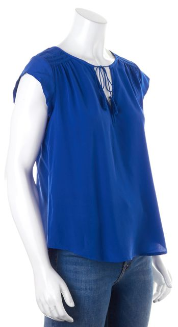 JOIE Blue Silk Pucker Shoulder Tie Tassel Top