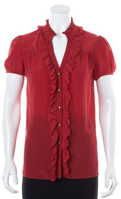 JOIE Red Short Sleeve Ruffle Collar Crepe Silk Button Up Shirt