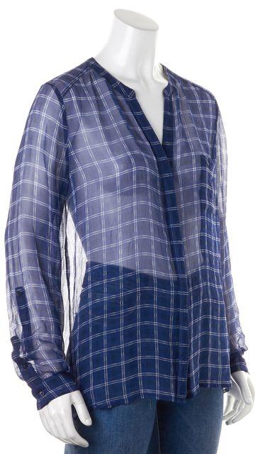 JOIE Blue Sheer Silk Button Down Shirt Top