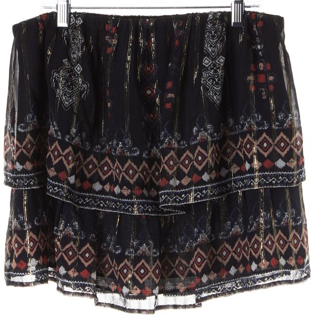 JOIE Blue Gold Abstract Geometric Print Silk Tiered Skirt