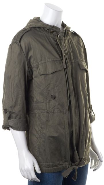 JOIE Army Green Zip Up Tie String Hooded Jacket