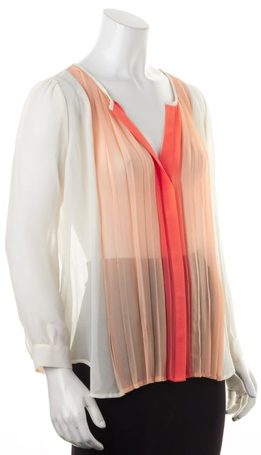 JOIE Beige Coral Pink Sheer Silk Sinden Long Sleeve Blouse