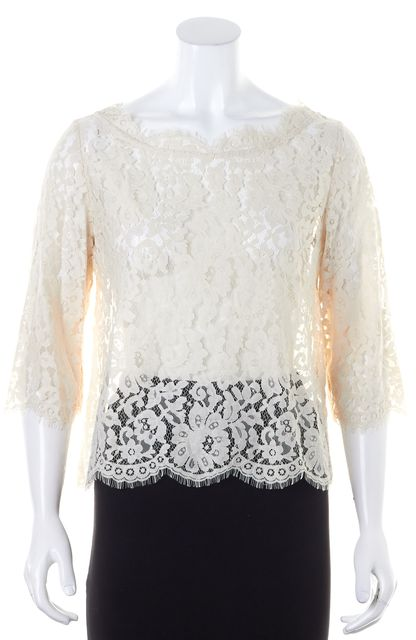 JOIE Ivory Lace Buttoned Back Blouse
