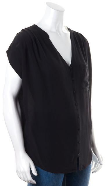 JOIE Solid Black Sheer Crepe Silk V-Neck Button Front Blouse