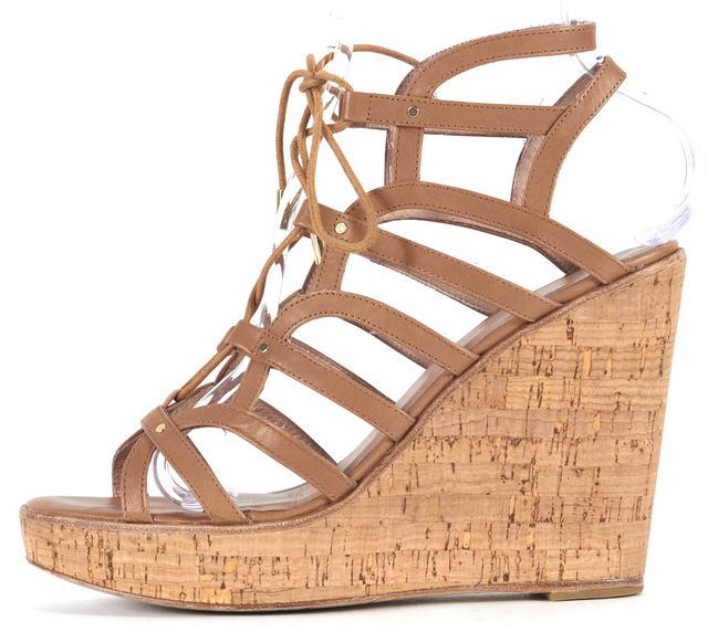 JOIE Light Brown Leather Cork Gladiator Platform Wedge Sandals