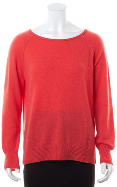 JOIE Dark Coral Pink Cashmere Wide Crewneck Sweater