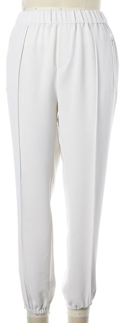 JOIE White Crepe Stretch Waist High-Rise Zip Pockets Jogger Pants