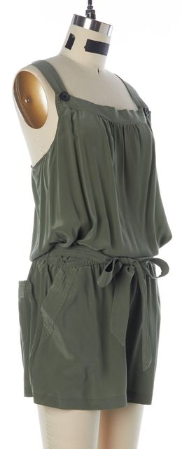 JOIE Olive Green Washed Silk Sleeveless Romper