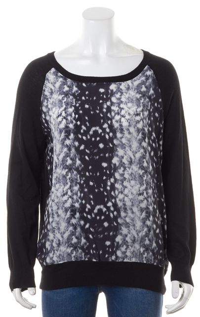JOIE Black White Abstract Silk Thin Crewneck Sweater
