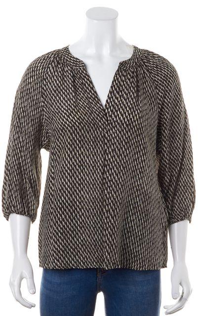 JOIE Black Brown Geometric Silk V-Neck 3/4 Sleeve Blouse
