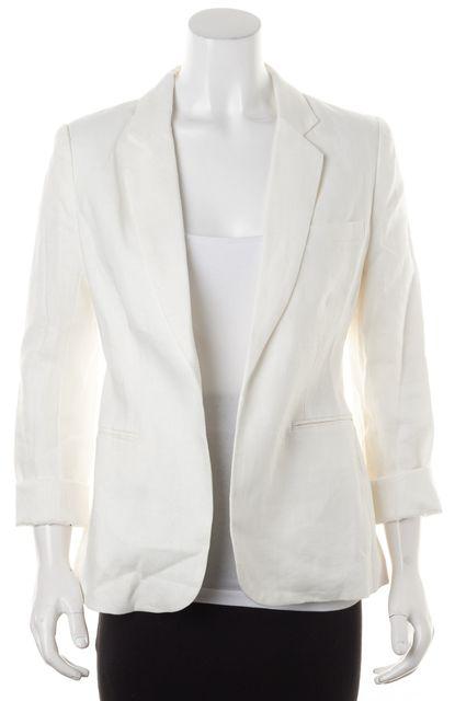 JOIE Porcelain White Linen Mehira Open Blazer Jacket