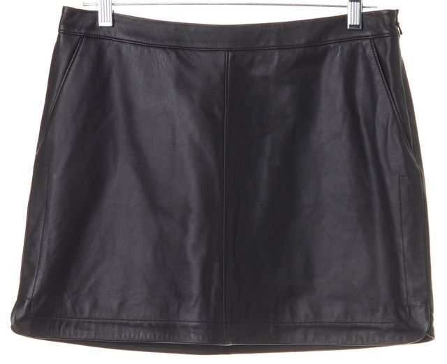 JOIE Caviar Black Lamb Leather Mayfair Mini Skirt