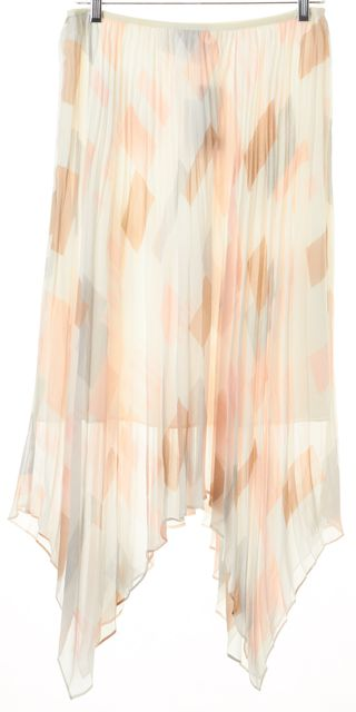 JOIE Ivory Porcelain Soft Sand Silk Jamilla Pleated Asymmetrical Skirt