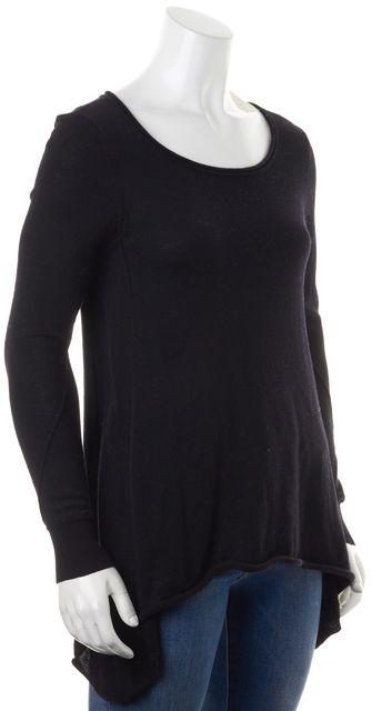 JOIE Black Merino Wool Long Sleeve Asymmetrical Hem Casual Knit Top