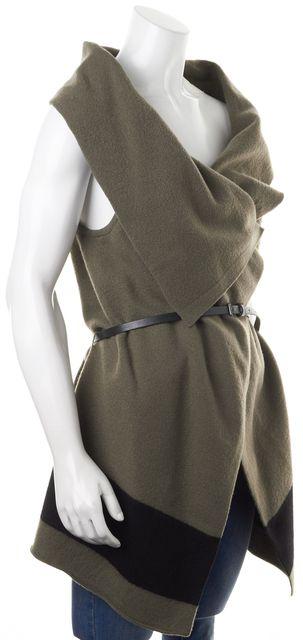 JOIE Green Black Color-Block Wool Ligiere Belted Vest