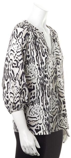 JOIE White Black Leopard Print Silk Blouse
