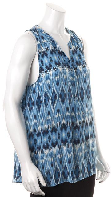 JOIE Blue Navy White Abstract Geometric Print Sleeveless Silk Blouse