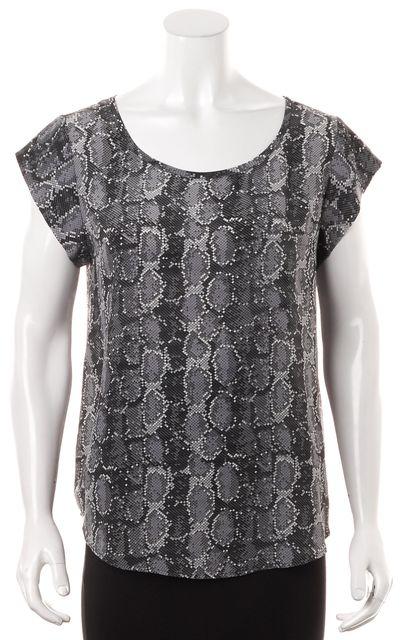 JOIE Gray Cap Sleeve Abstract Silk Blouse