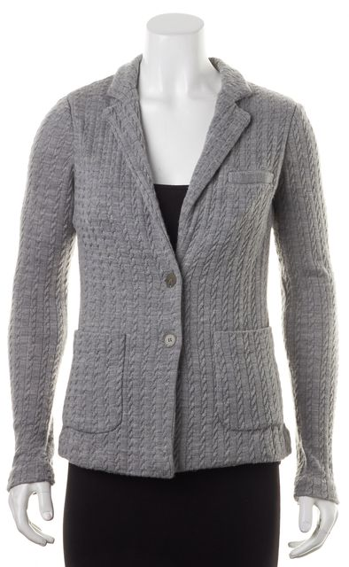 JOIE Gray Wool Cable Knit Double Button Blazer Style Cardigan