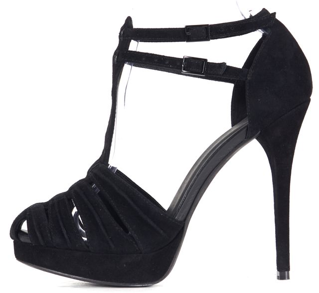 JOIE Black Suede Leather Ankle Straps Platform High Heels