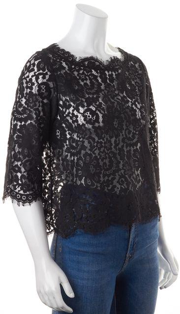 JOIE Black Super Sheer Lace Back Button Down Shirt