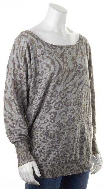 JOIE Gray Green Leopard Print Cotton Scoop Neck Knit Top