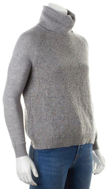 JOIE Gray Orange Blue Marled Wool Silk Knit Turtleneck Sweater