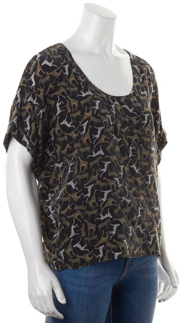 JOIE Black Brown White Zoo Animal Print Silk Short Sleeve Blouse