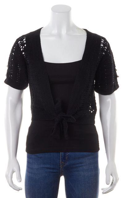 JOIE Black Metallic Bead Embellished Crop Tied Short Sleeve Cardigan