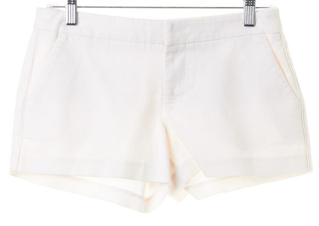 JOIE Solid White Textured Cotton Hook Buckle Casual Shorts