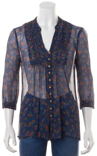 JOIE Navy Blue Crinkle Sheer Silk Floral Printed 3/4 Sleeves Blouse Top