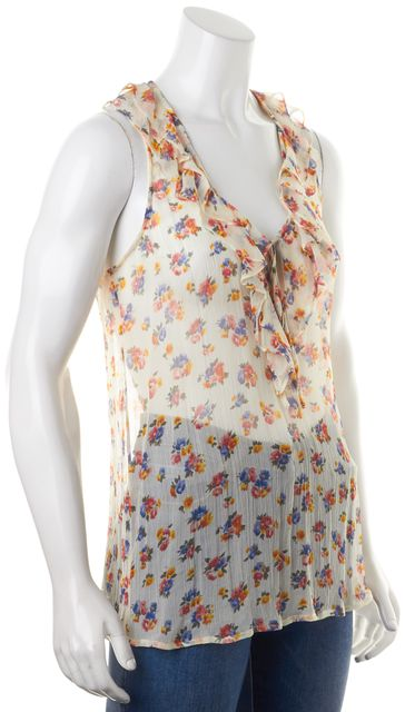 JOIE Ivory Multi-Color Sheer Floral Print Silk Ruffle Sleeveless Blouse
