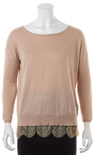 JOIE Dusty Beige Lace Trim Crewneck Sweater