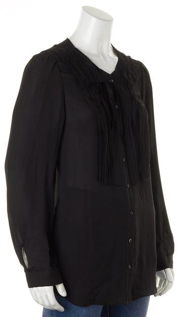 JOIE Black Silk Long Sleeve Button Front Semi Sheer Blouse