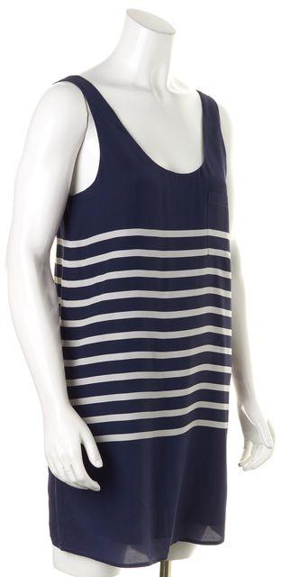 JOIE Navy Blue White Striped Silk Sleeveless Shift Dress