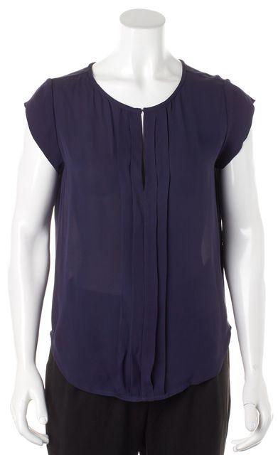 JOIE Navy Silk Cap Sleeve Keyhole Front Blouse
